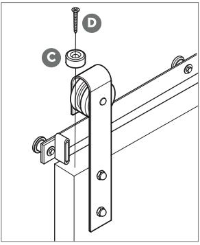 Outdoor Rated Barn Door Hanger install Fig 11