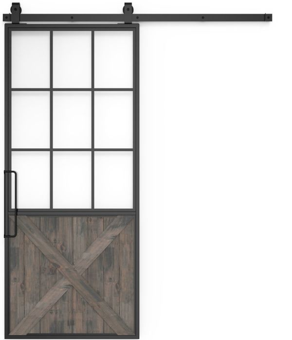 Mountain French Half X Barn Door