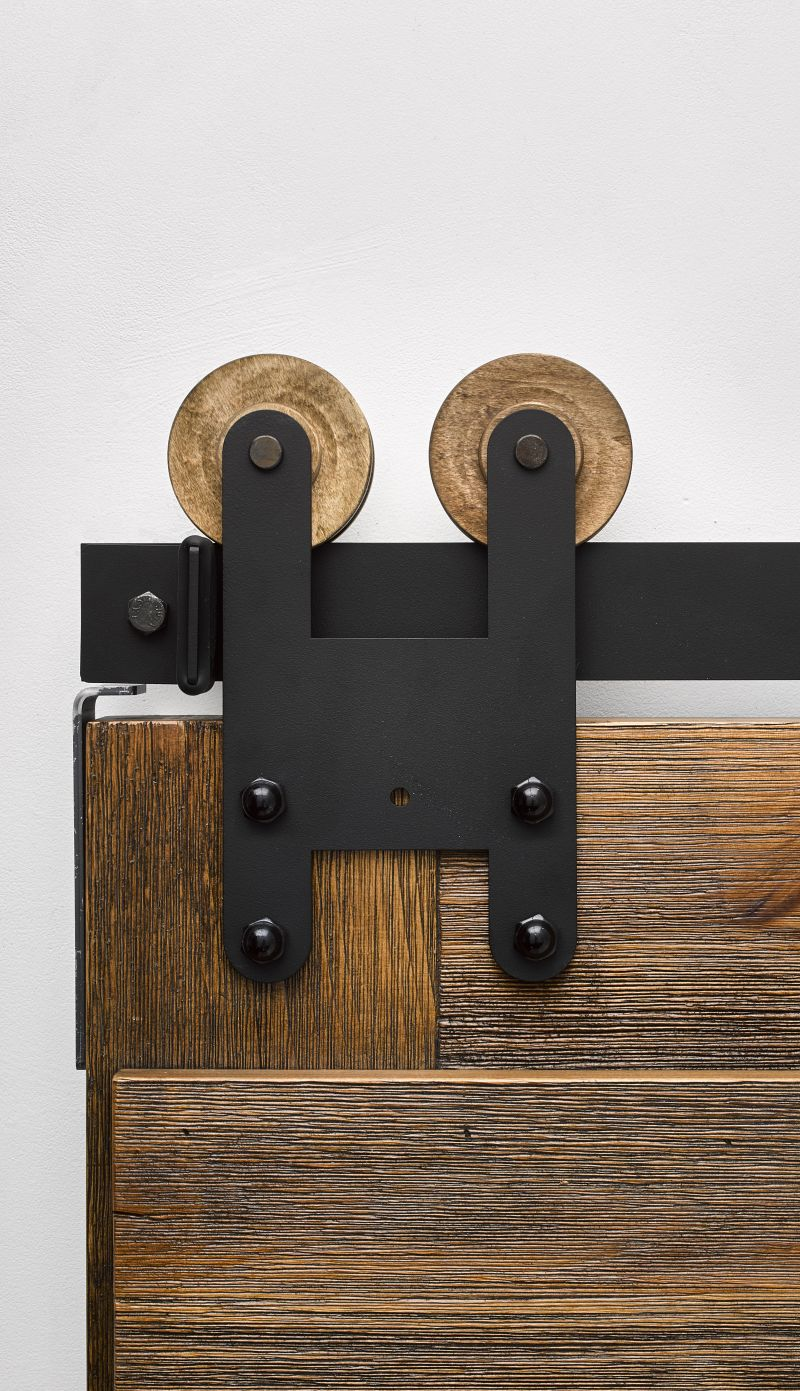 H Strap Industrial Barn Door Hardware Kit Rustica Hardware
