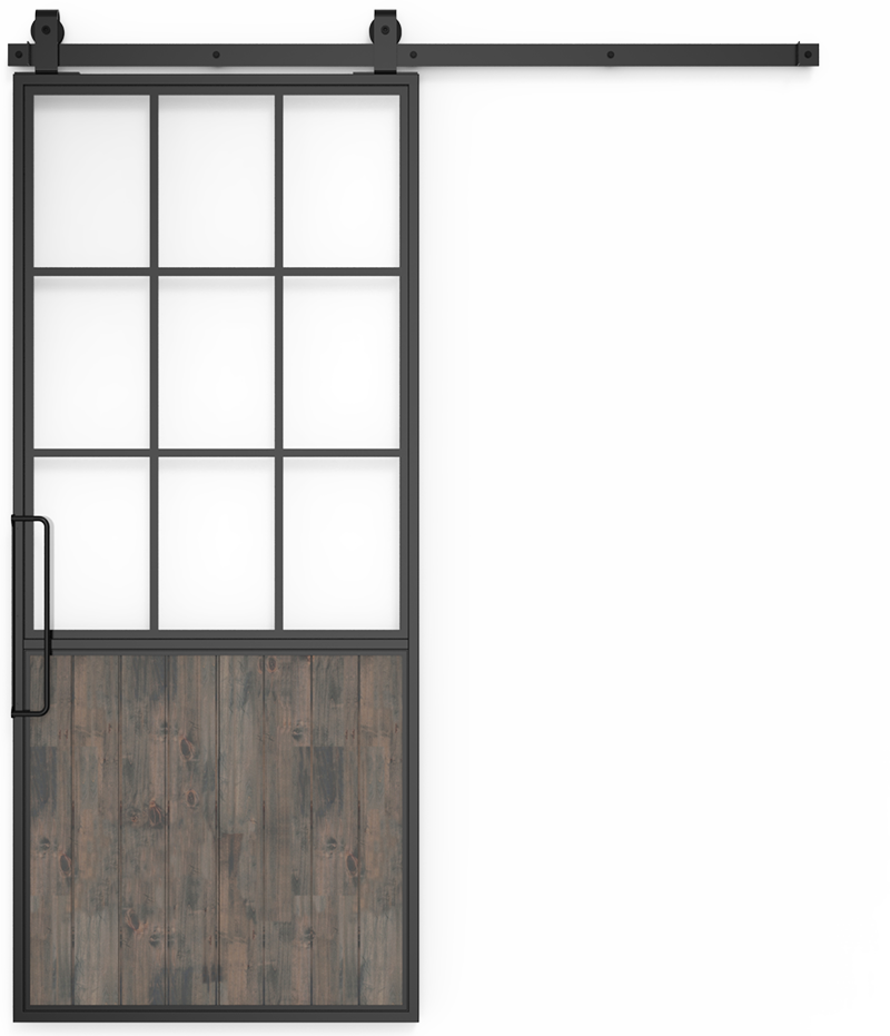 Half Glass French Barn Door: Mountain Sliding Style | Rustica Hardware
