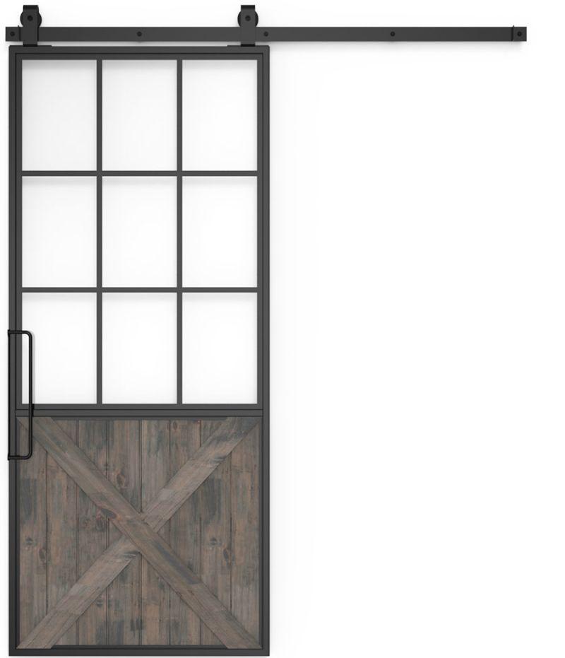 Mountain French Half X Barn Door