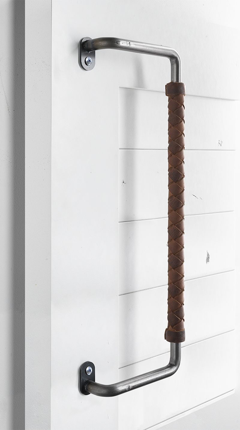 Powell Leather Wrapped Barn Door Handle Rustica Hardware
