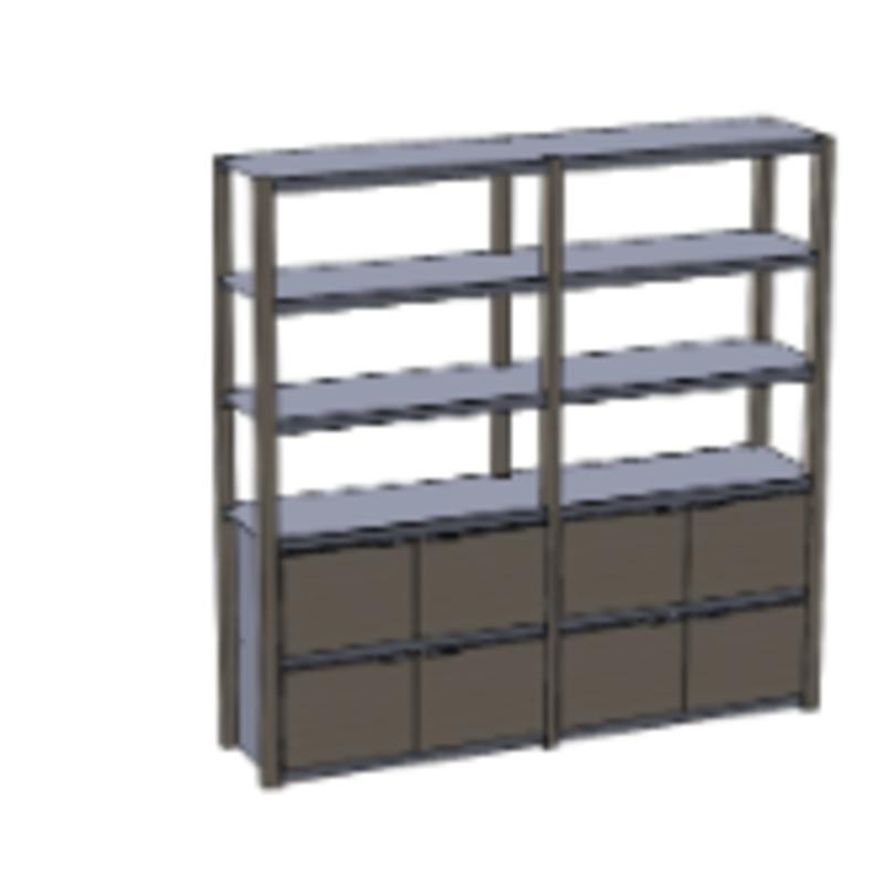 Kiln bookshelf lg w/storage