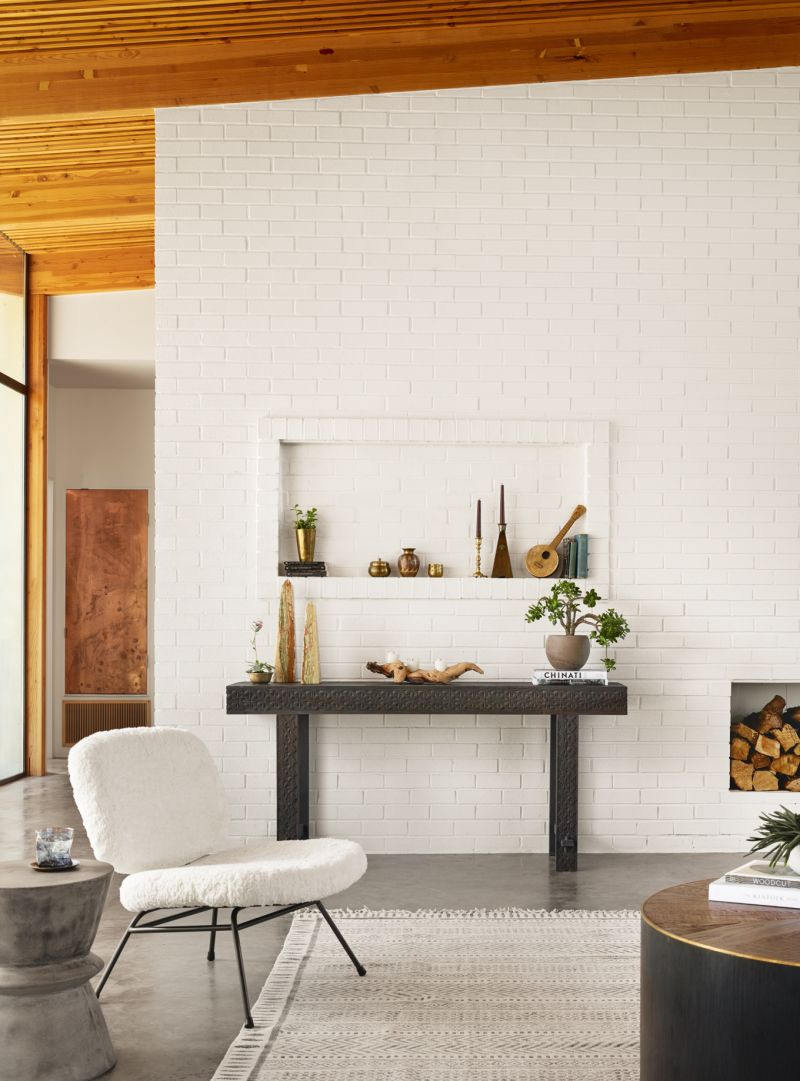 Ivory Faux Fur Caleb Chair