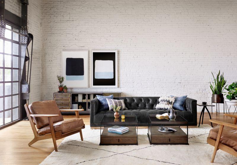 Maxx Distressed Black Leather Sofa