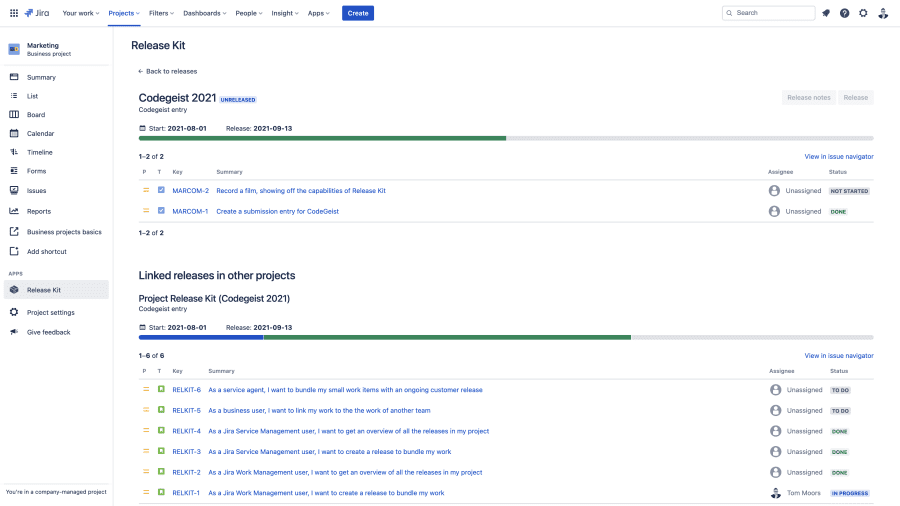 When linking releases, see the overall progress in 1 view