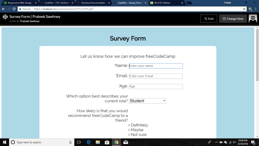 Survey-Form-FreeCodeCamp-Project | Devpost