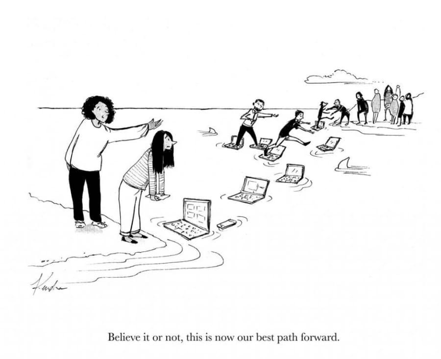 Cartoon: Auf unterschiedlichen Endgeräten ein gefährliches Gewässer überqueren