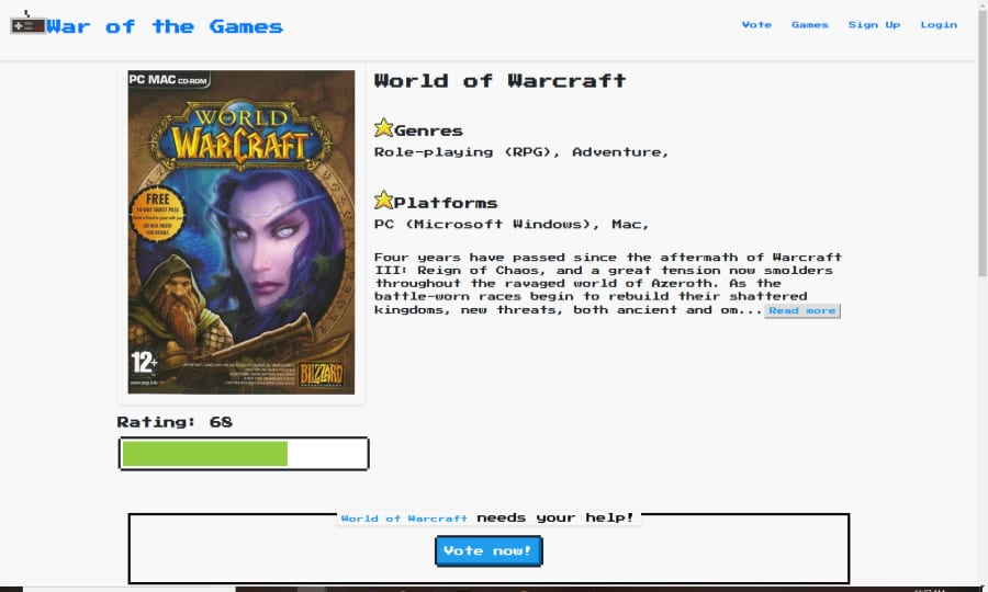 A screenshot of the game info page