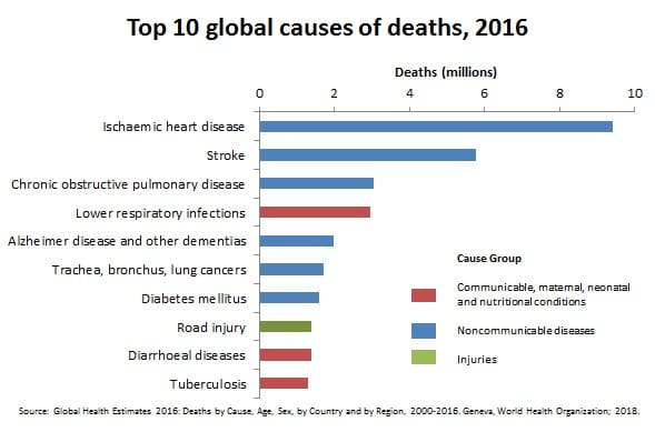 Global Causes of Death 2016, WHO