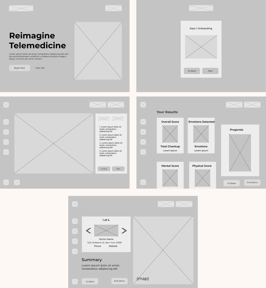 Low-Fidelity Prototypes of all pages
