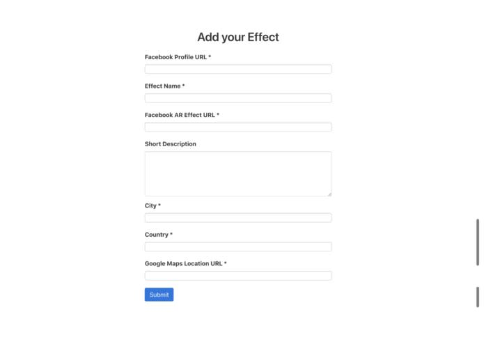 Facebook AR Effects Form