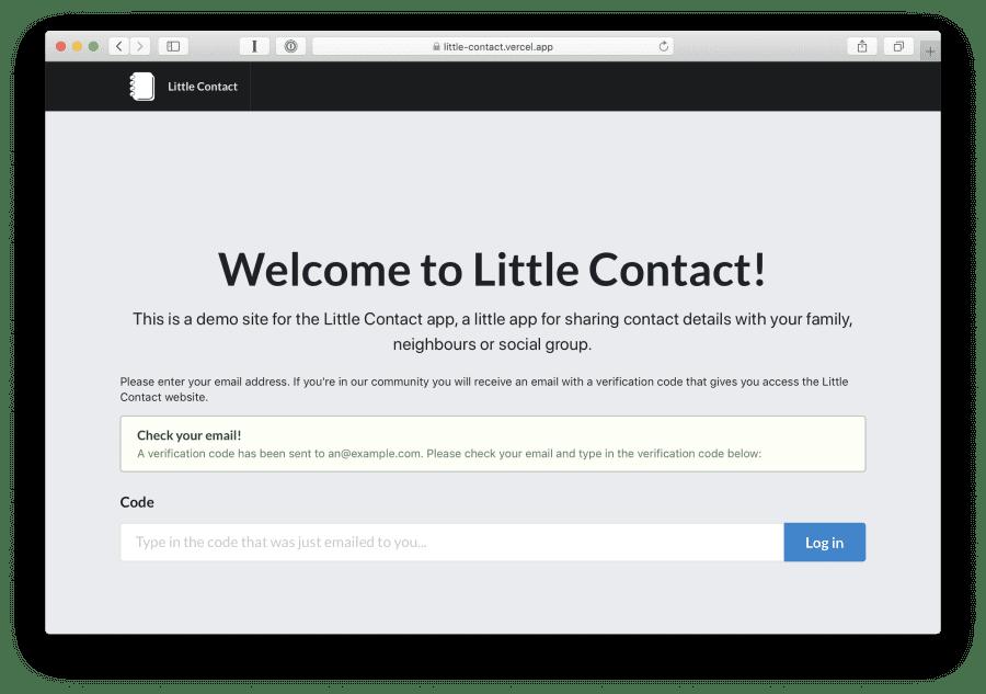 Little Contact verification code