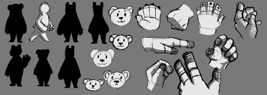 Quickly designing Hans, the Ursine Interpreter (silhouette sketches + quick hand drawings)