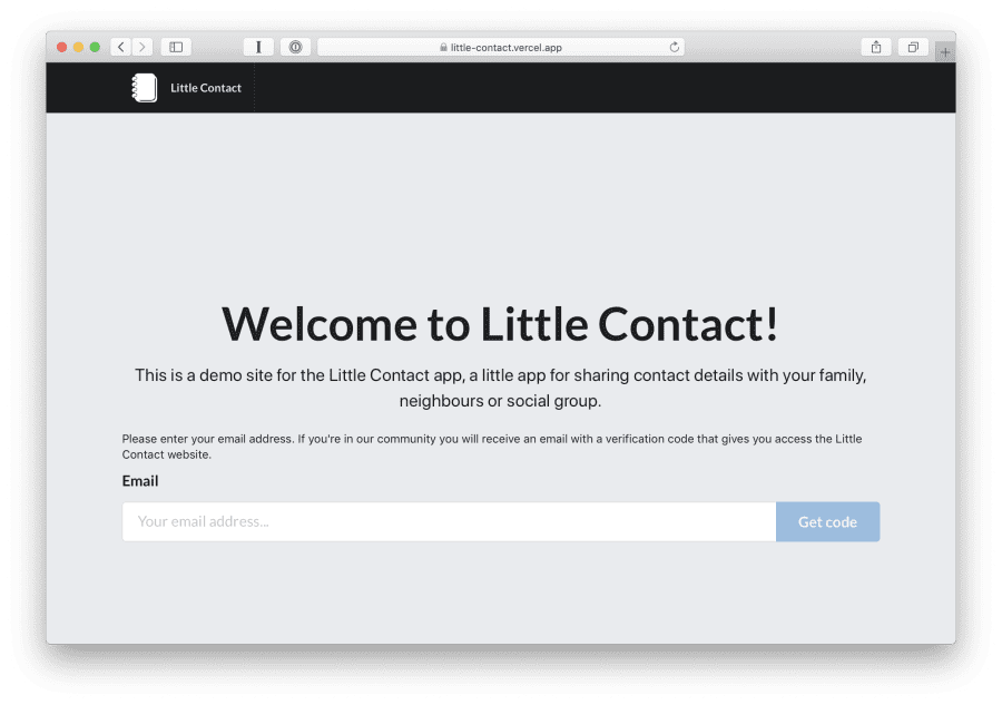 Little Contact welcome page