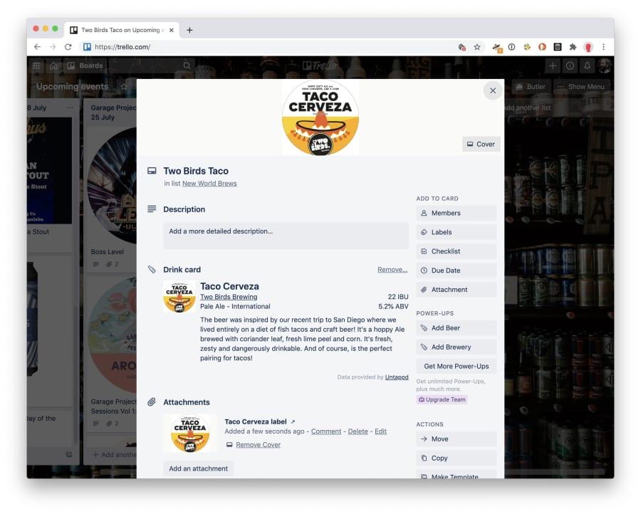 Detailed beer information