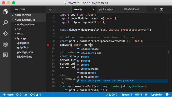VS Code in action