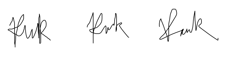 My ridiculous signatures drawn on a computer
