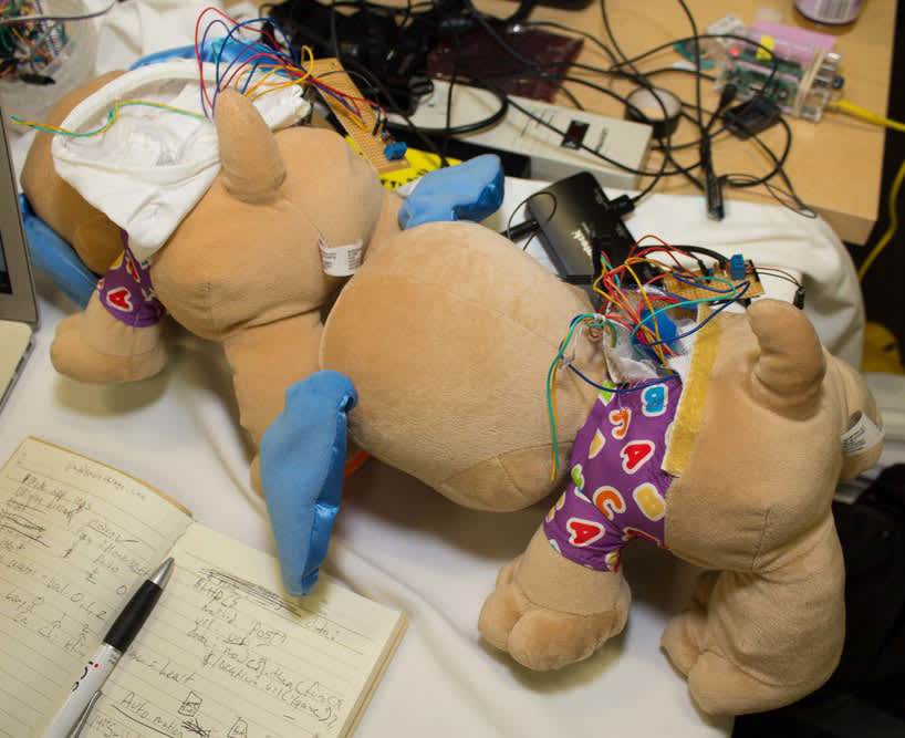 A stuffed animal with wires coming out of the back