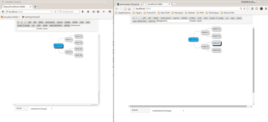 Last screenshot: two synced browsers