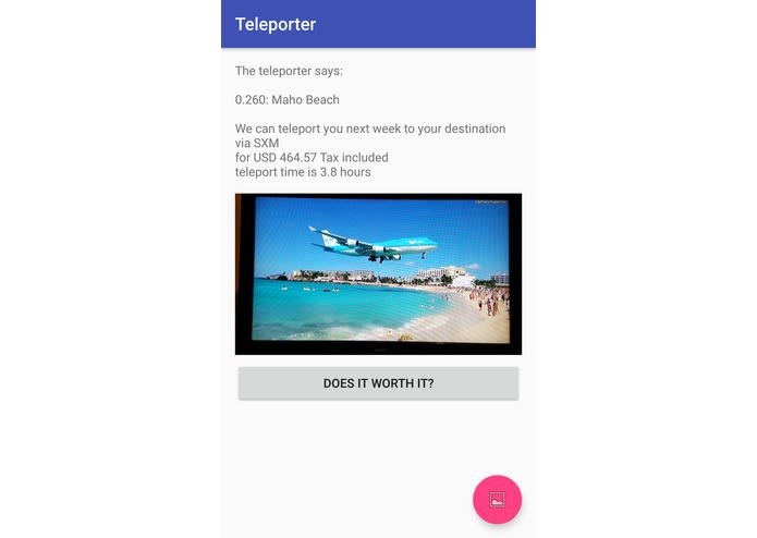Teleporter identifies and retrieves the name of the place in the photo, ticket price and flight duration