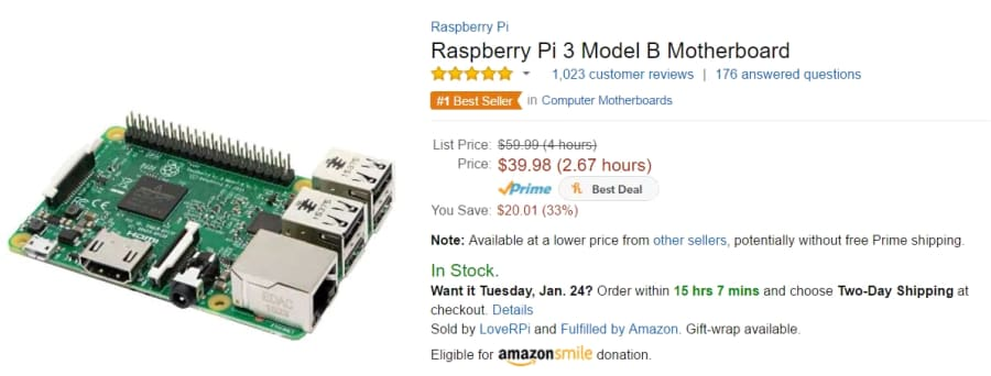 A product on Amazon, with the price shown in hours worked
