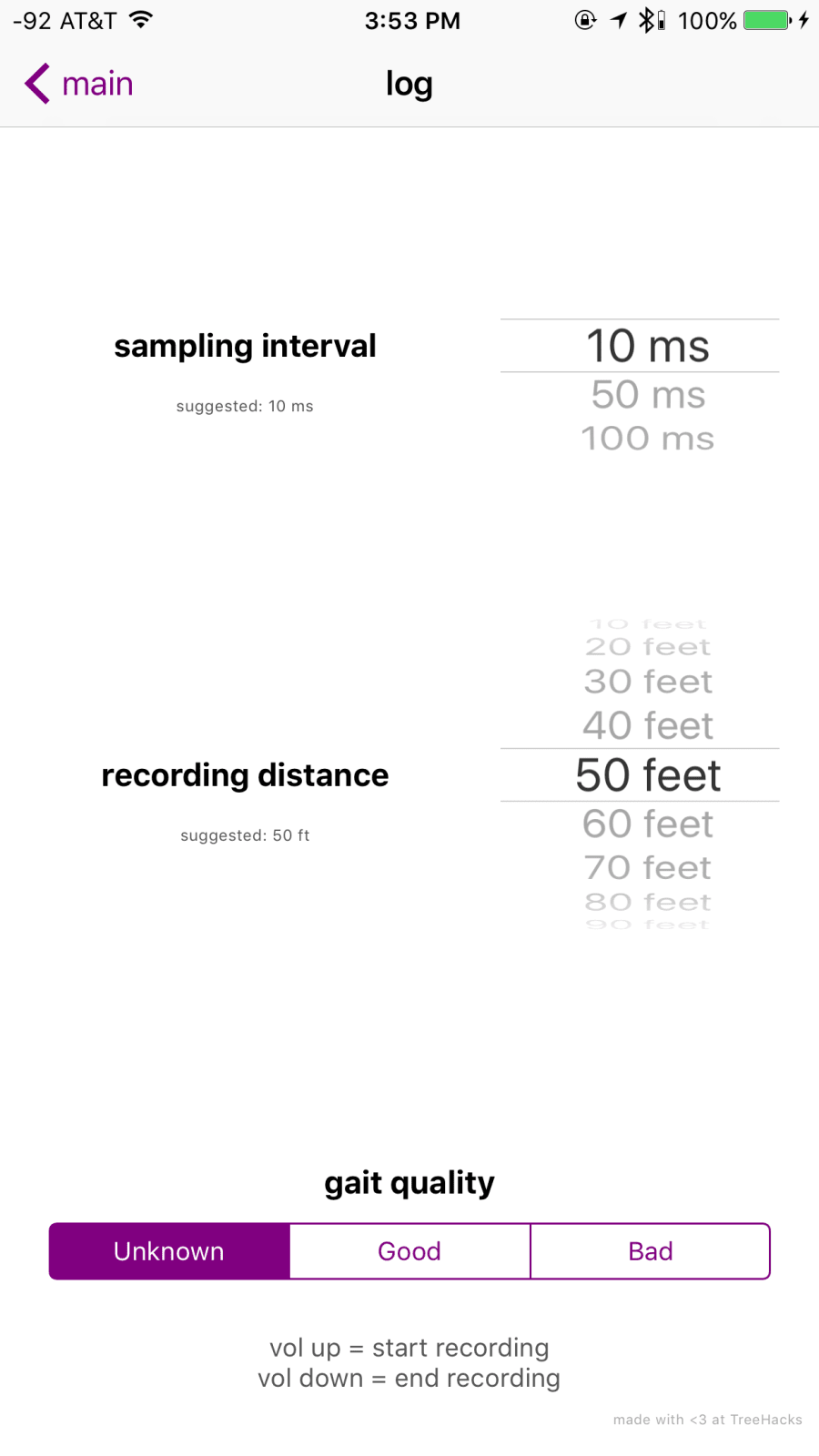 The logging app in action