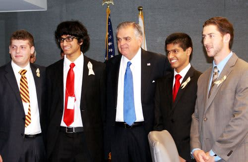 Group shot of RAISE winners with Secretary LaHood and their teacher