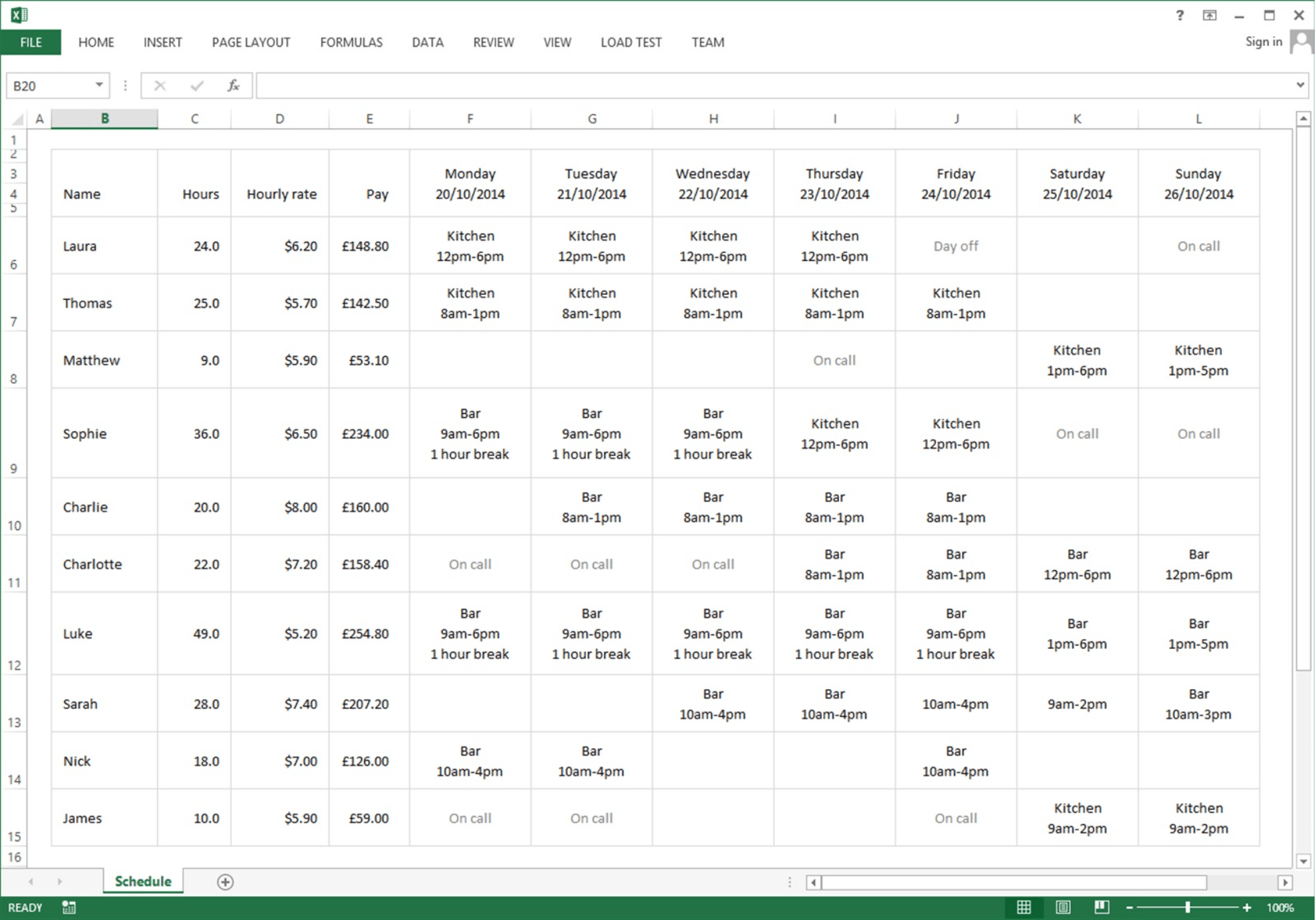 excel staff rota template example