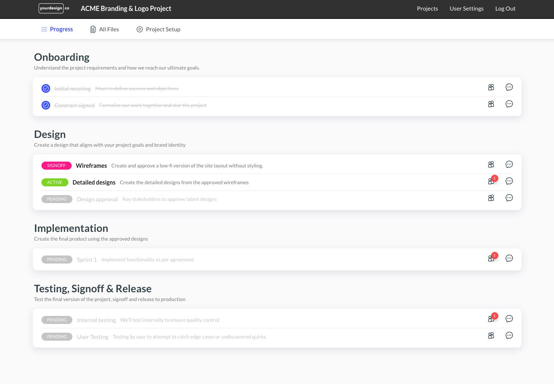 Drum client portal timeline