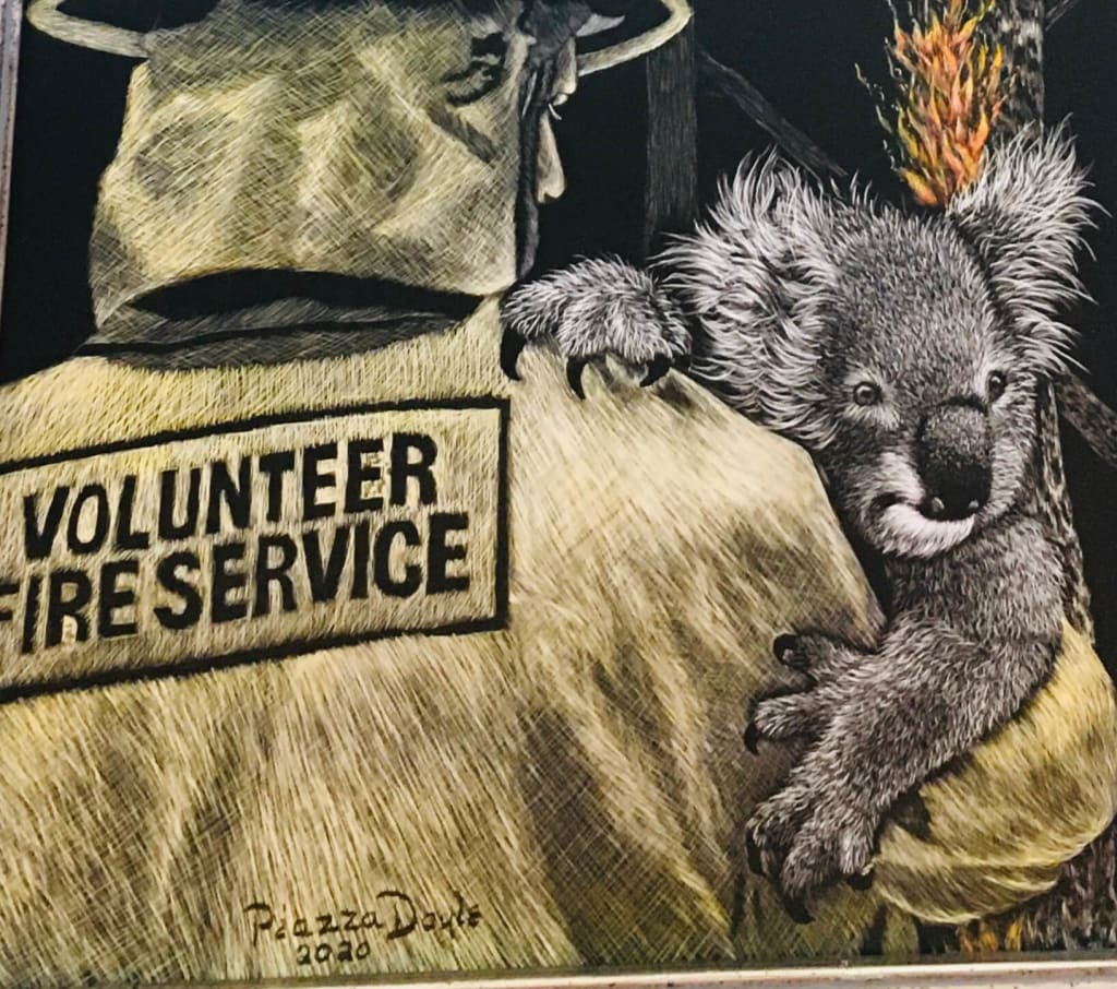 Australian Wildfire Scratch Art by Esther Piazza Doyle