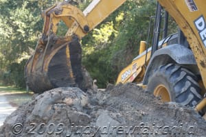 Repair efforts taking up part of the road