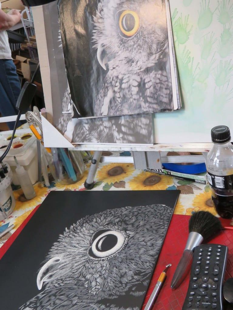 Owl scratch art in progress by Esther Piazza Doyle