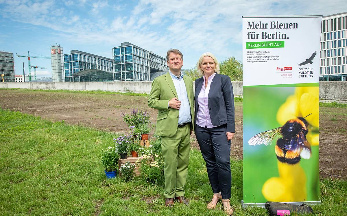 Hilmar Freiherr von Münchhausen, Geschäftsführer Deutsche Wildtier Stiftung und Regine Günther,  Senatorin für Umwelt, Verkehr und Klimaschutz vor der neuen Wildbienenfläche nahe des Hauptbahnhofs.