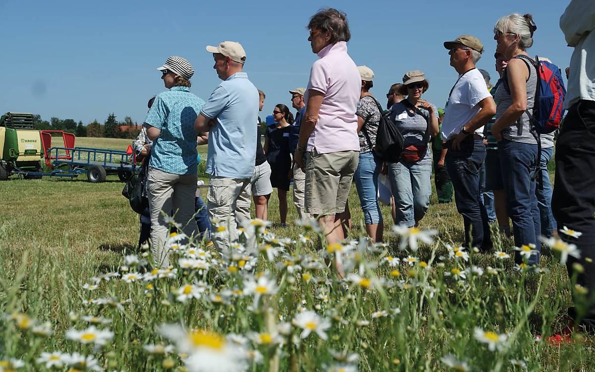 Teilnehmer beobachten die Arbeit der Landwirte. Foto: Barbara Blenski