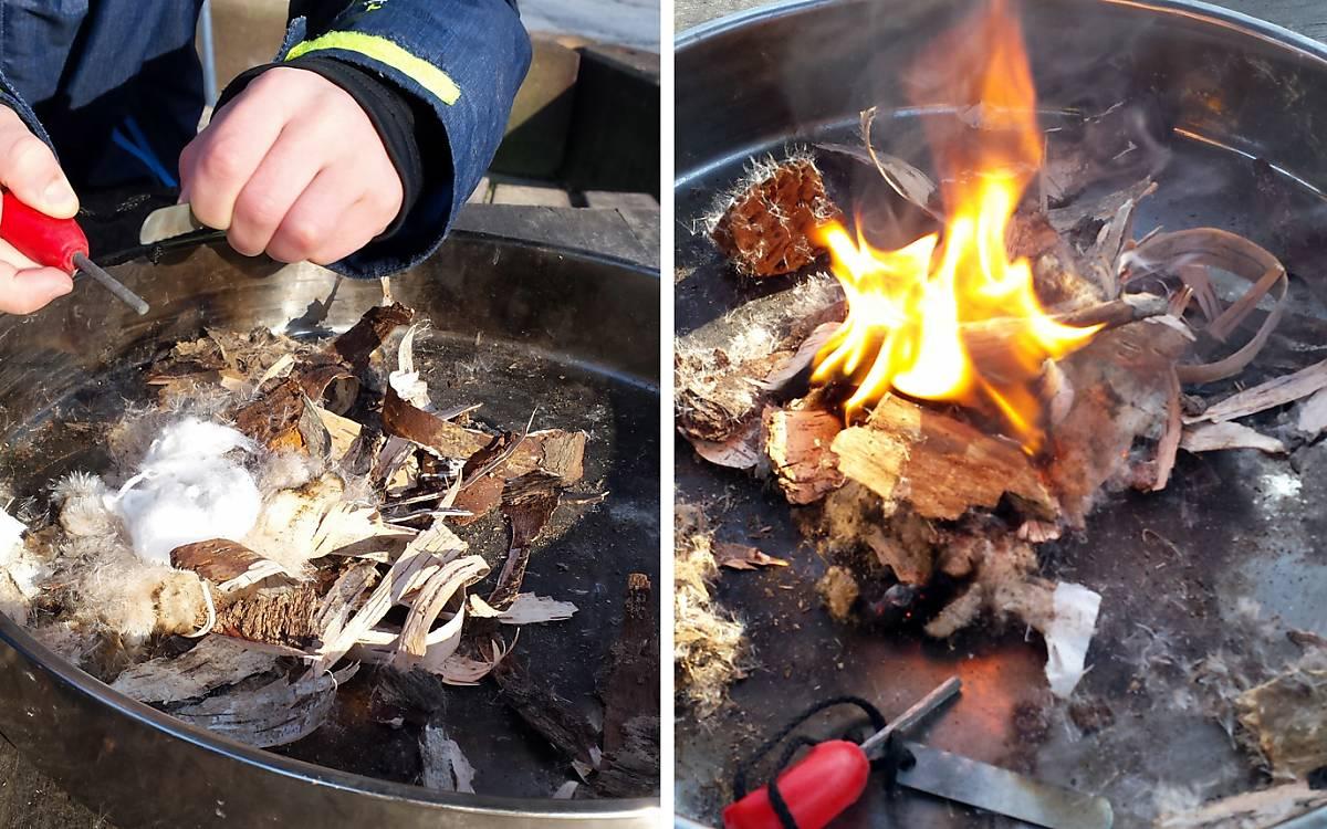 Ganz ohne Streichholz … ein Funke reicht aus und das Zundernest brennt.