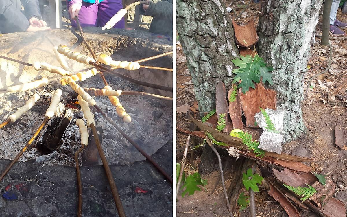 ... Und dann gibt es Stockbrot am selbst entfachten Feuer.  - Foto rechts: Kreativ sein im Humboldthain.    Eine Murmelbahn aus Baumrinde.