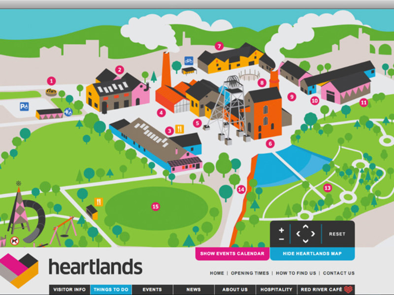 Interactive Map. Clicking on a number to reveals an overlay panel with further information and events at that location.