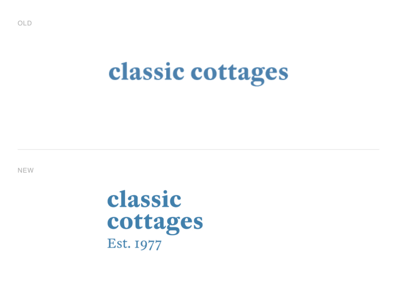classic cottages brand refinement logo design