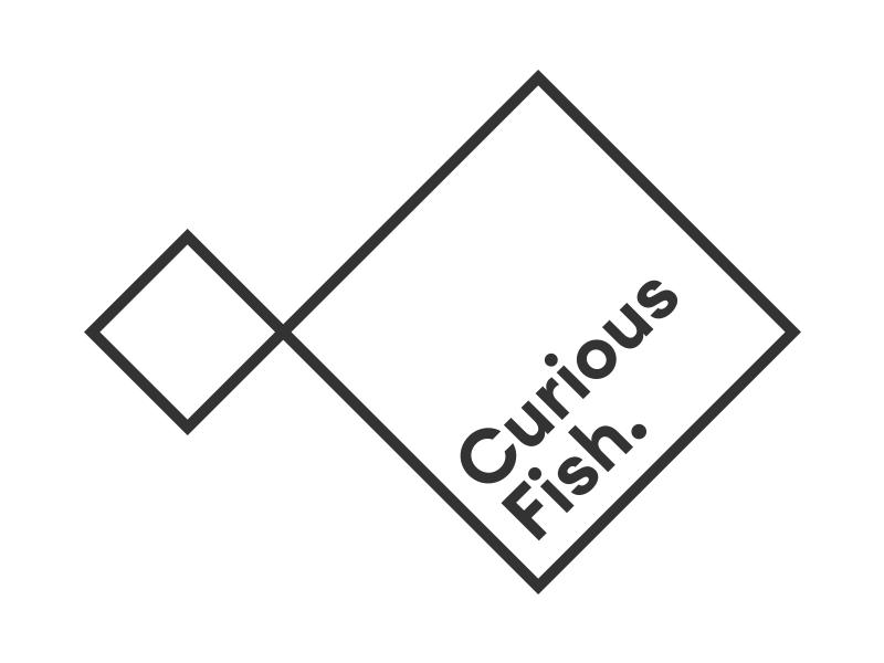 Curious fish brand identity logo