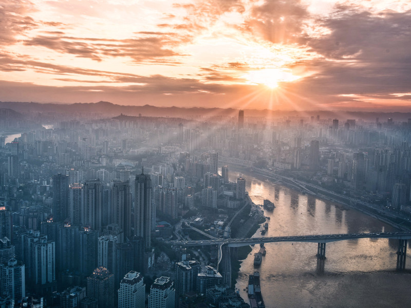 Development Compass City Sunset