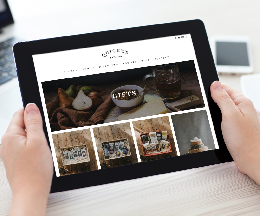 Quickes website on tablet device