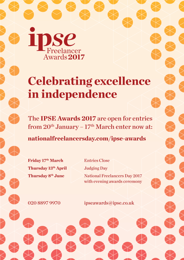 IPSE 2017 freelance award A4 print advert