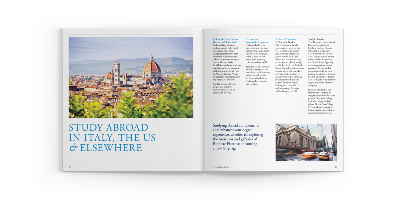 Richmond university prospectus inside spread about Italy and studying abroad on a white background