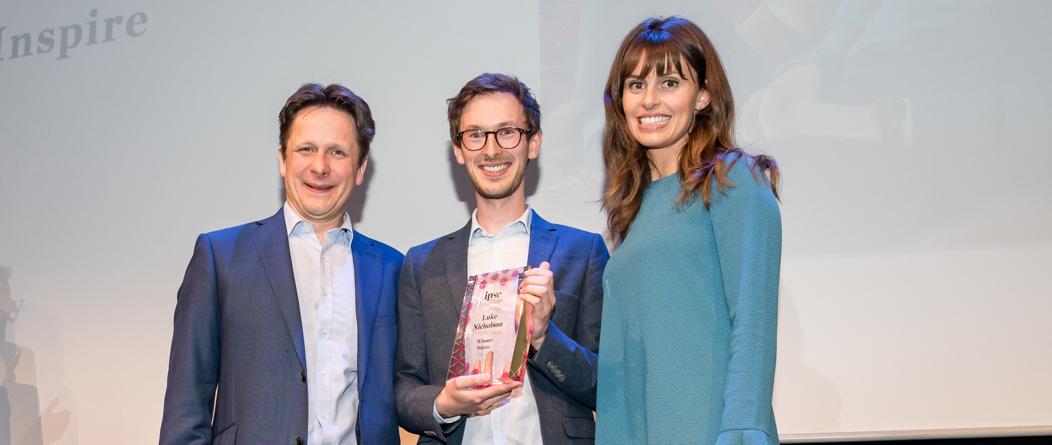IPSE award ceremony winner with presenters