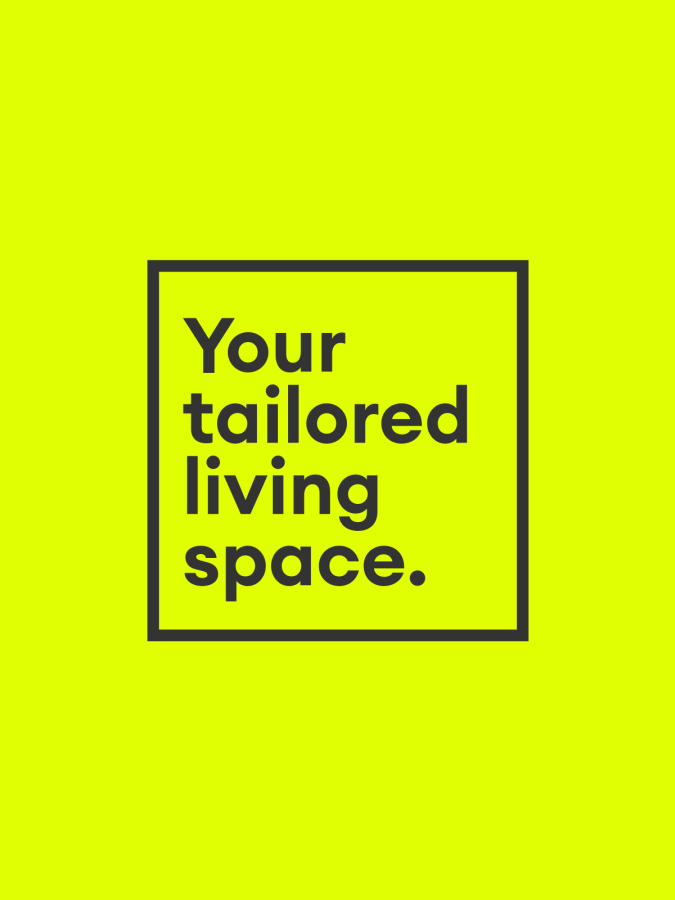 Curious fish bright yellow poster with strap-line 'your tailored living space