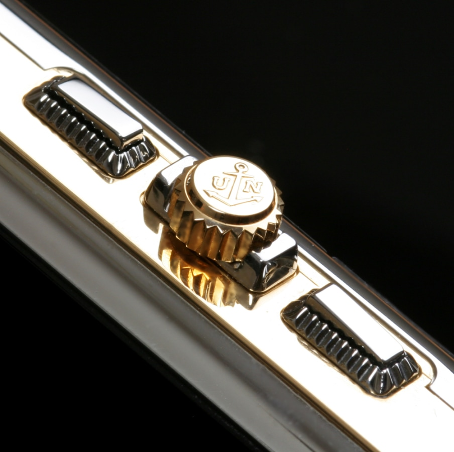 Up close shot of the dial on a Ulysse Nardin cell phone