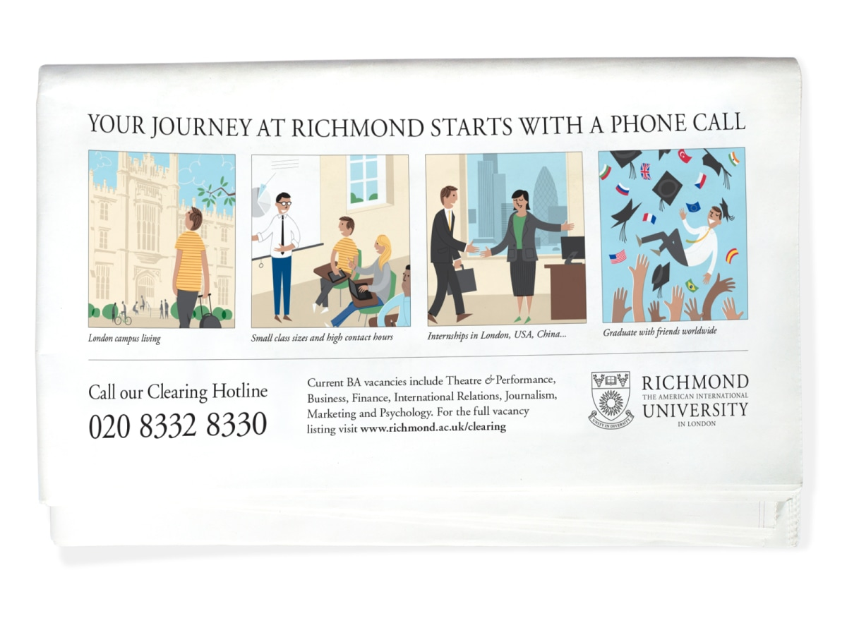 Richmond University broadsheet advert