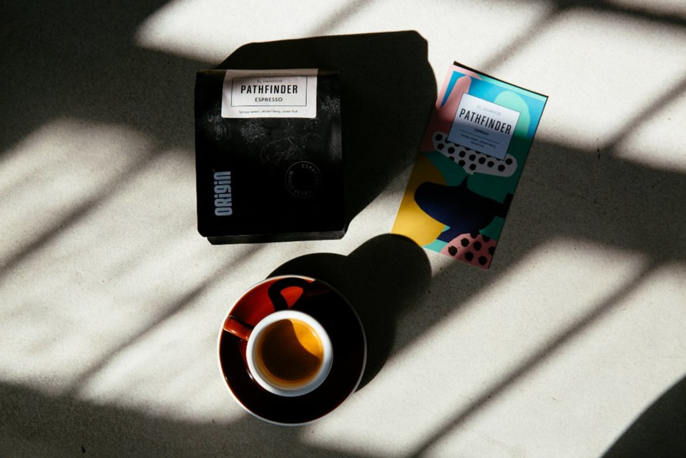 Origin coffee products including coffee and packaging