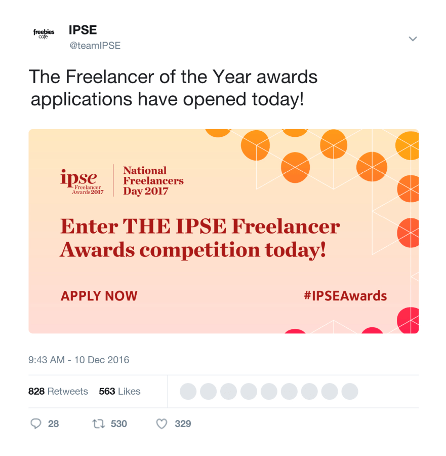 IPSE Social banners within a twitter social media post
